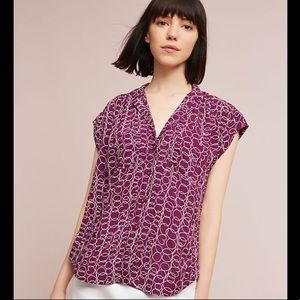Anthropologie Maeve Raffine Purple Print Blouse